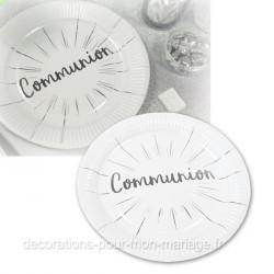 6 assiettes communion 23 cm argent
