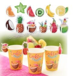 Déco verre fruits exotiques