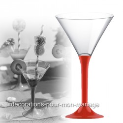 Coupe cocktail pied rouge