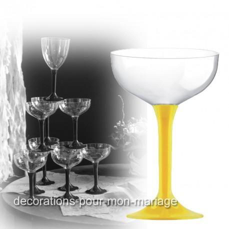 Coupe de champagne jetable pied jaune