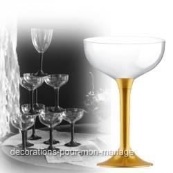 Coupe de champagne jetable pied doré