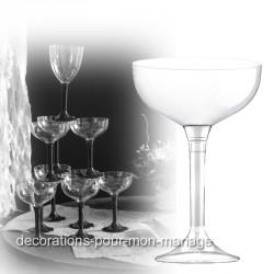 Coupe de champagne jetable pied transparent