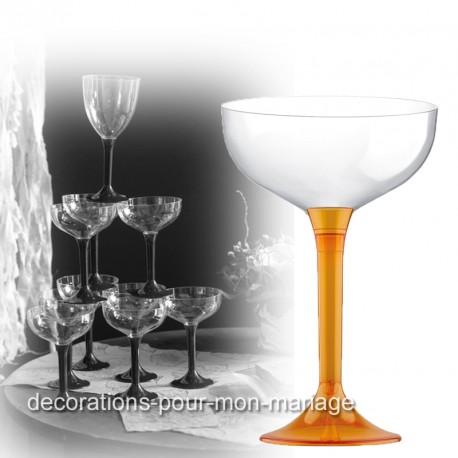 Coupe de champagne jetable pied orange