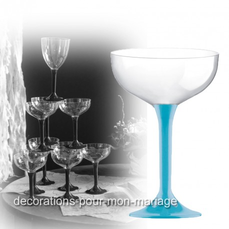 Coupe de champagne jetable pied turquoise