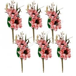 12 branches 2 fleurs coloris rose