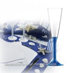 flute champagne jetable bleu roi
