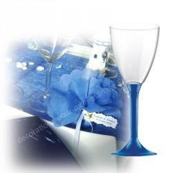 Verre vin jetable bleu roi