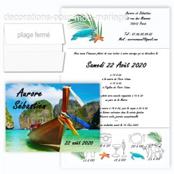 Faire-part triptyque barque tropicale