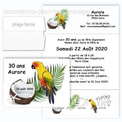 Faire-part triptyque perroquet exotique