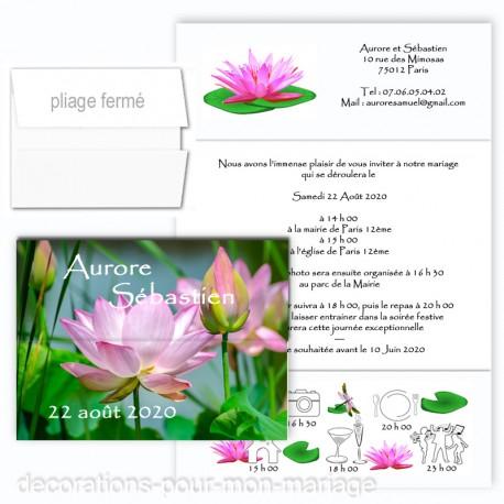 Faire-part triptyque lotus zen