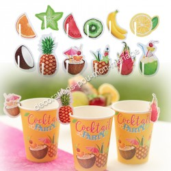 48 marque-verres fruits cocktails