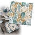 serviettes feuillage tropical  x20