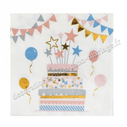 Serviettes kitty anniversaire
