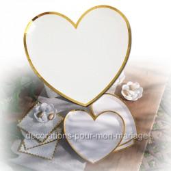 assiette coeur blanc et or x10
