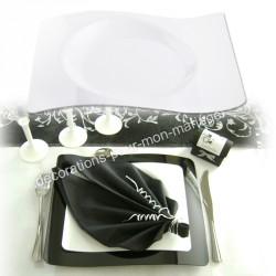 Assiettes vagues plat blanches x 6