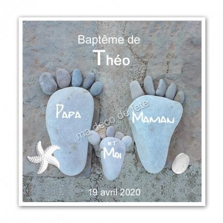 Faire-part baptême pieds