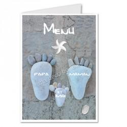 Menu décoratif pieds marins