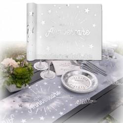 Chemin de table anniversaire blanc