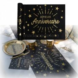 Chemin de table anniversaire noir et or