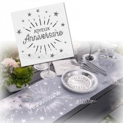 serviette anniversaire blanche x10