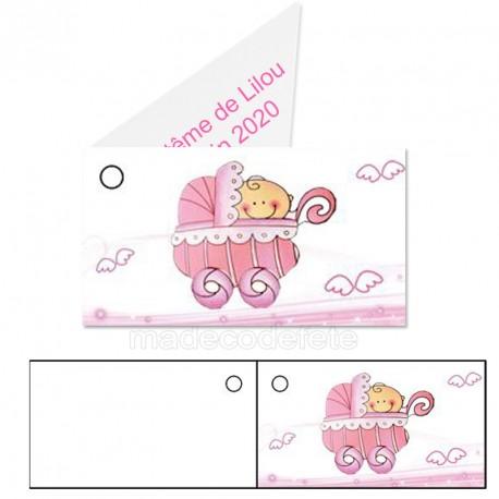 étiquette dragées landau rose