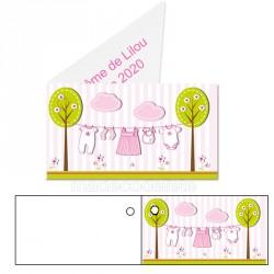 étiquette dragées baby shower rose