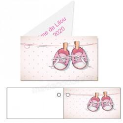 étiquette dragées basket rose