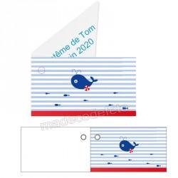 étiquette dragées marine rayé bleu