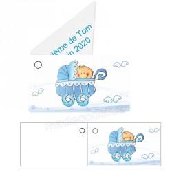 étiquette dragées landau bleu