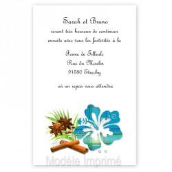 Invitation repas hibiscus bleu