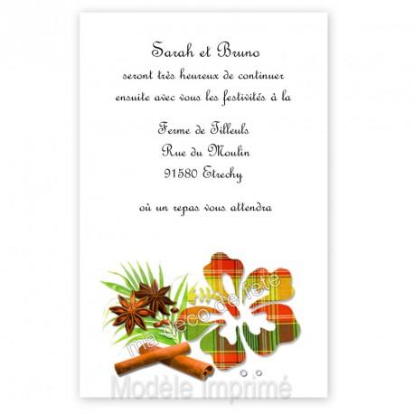 Invitation repas hibiscus rouge vert