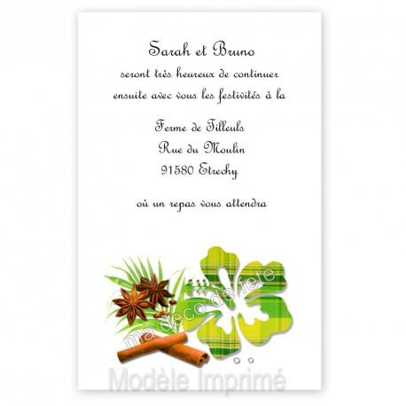 Invitation repas hibiscus vert anis