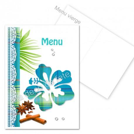 menu déco hibiscus bleu vierge