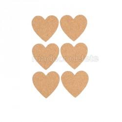 Coeurs en liège lot de 6