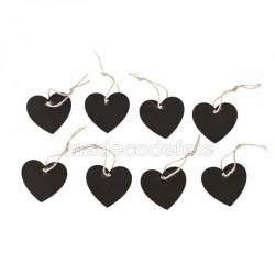 Coeurs ardoise et cordelettes par 8