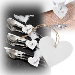 Marque-place coeur blanc