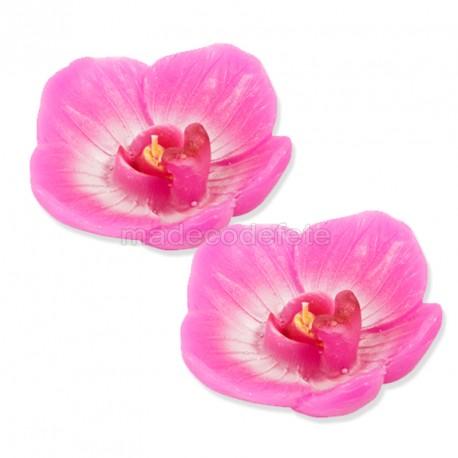 bougie orchidée fuchsia x2