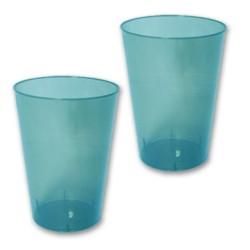 10 verres plastiques turquoise