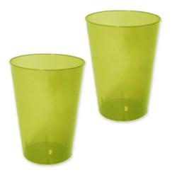 10 verres plastiques vert anis