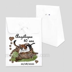 Ballotin dragées chats sur coussin