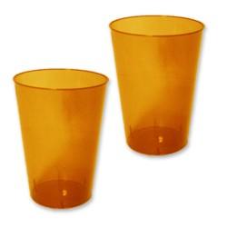 10 verres plastiques orange