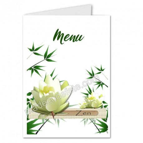 Menu zen lotus blanc