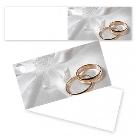 Etiquettes dragées anneaux mariage