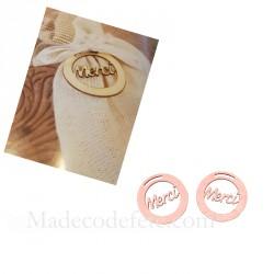 Pastille décor bois rose gold merci x10