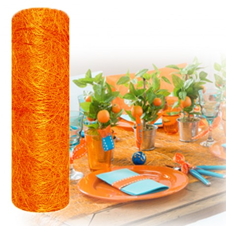 Chemin de table abaca orange