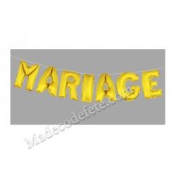 Ballon lettre mariage métallisé or