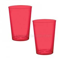 10 verres plastiques rouge