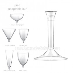 Pied verre transparent