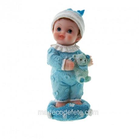 Figurine bébé doudou bleu