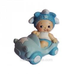 Figurine bébé voiture bleu